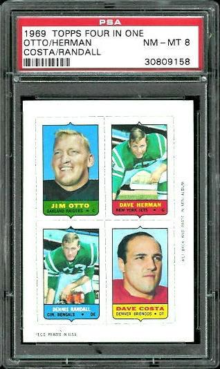 1969 Topps 4-in-1 #42 - Jim Otto, Dave Herman, Dennis Randall, Dave Costa - PSA 8