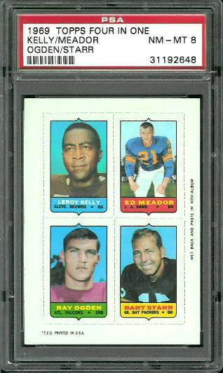 1969 Topps 4-in-1 #30 - Leroy Kelly, Ed Meador, Ray Ogden, Bart Starr - PSA 8