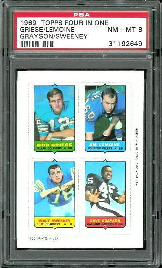 1969 Topps 4-in-1 #18 - Bob Griese, Jim LeMoine, Walt Sweeney, Dave Grayson - PSA 8