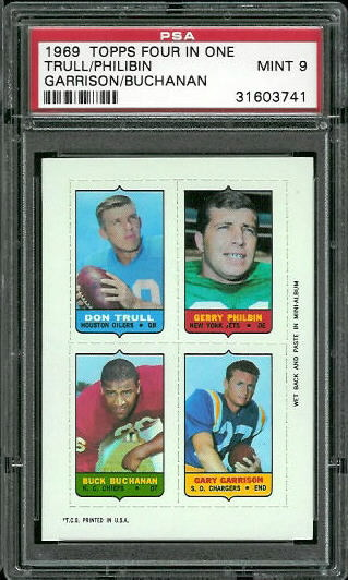 1969 Topps 4-in-1 #58 - Don Trull, Gerry Philbin, Buck Buchanan, Gary Garrison - PSA 9