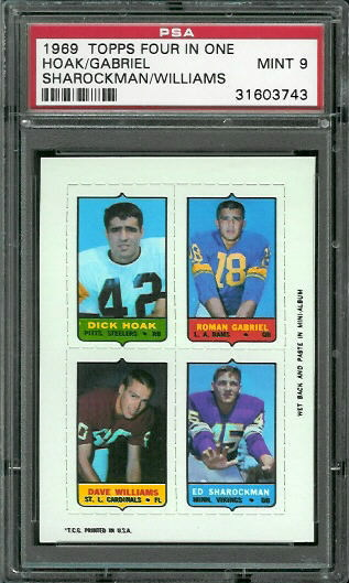 1969 Topps 4-in-1 #23 - Dick Hoak, Roman Gabriel, Dave Williams, Ed Sharockman - PSA 9