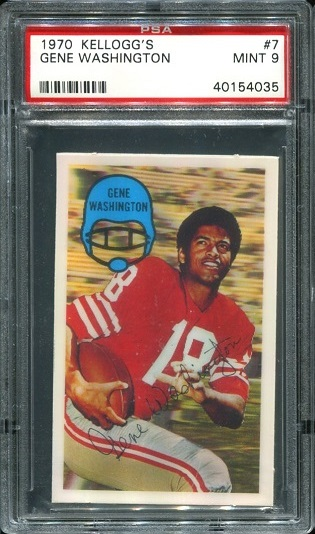 1970 Kelloggs #7 - Gene Washington - PSA 9