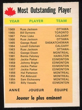 1970 O-Pee-Chee CFL #111 - Most Outstanding Player - Vg-ex