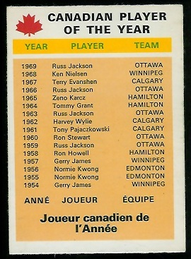 1970 O-Pee-Chee CFL #112 - Canadian Player of the Year - nm