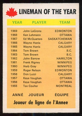 1970 O-Pee-Chee CFL #113 - Lineman of the Year - nm