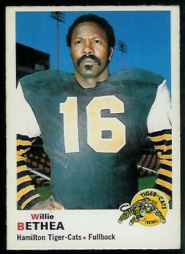 1970 O-Pee-Chee CFL #24 - Willie Bethea - exmt