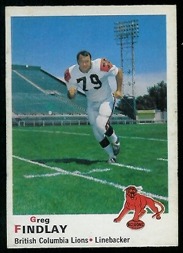 1970 O-Pee-Chee CFL #35 - Greg Findlay - exmt