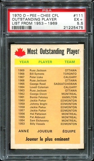 1970 O-Pee-Chee CFL #111 - Most Outstanding Player - PSA 5.5