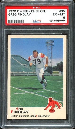 1970 O-Pee-Chee CFL #35 - Greg Findlay - PSA 6