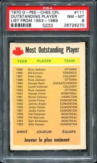 1970 O-Pee-Chee CFL #111 - Most Outstanding Player - PSA 8