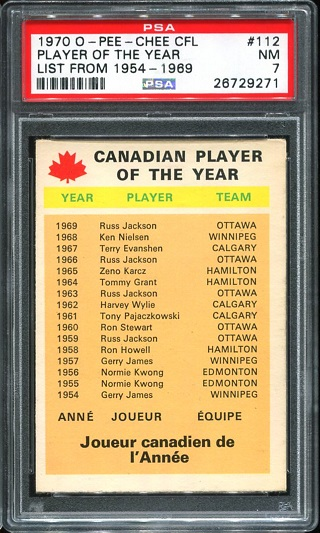 1970 O-Pee-Chee CFL #112 - Canadian Player of the Year - PSA 7