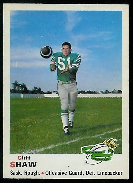 1970 O-Pee-Chee CFL #83 - Cliff Shaw - ex