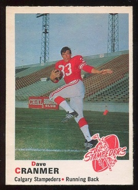 1970 O-Pee-Chee CFL #93 - Dave Cranmer - vg-ex