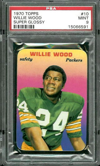 1970 Topps Super Glossy #10 - Willie Wood - PSA 9
