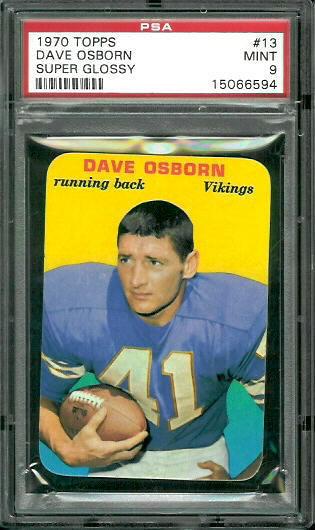 1970 Topps Super Glossy #13 - Dave Osborn - PSA 9