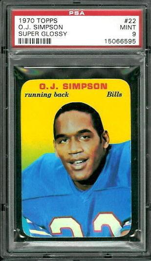 1970 Topps Super Glossy #22 - O.J. Simpson - PSA 9