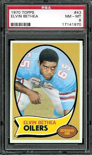1970 Topps #43 - Elvin Bethea - PSA 8