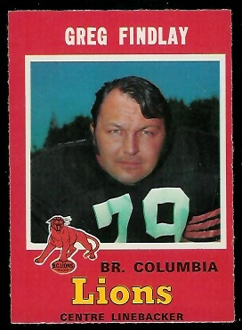 1971 O-Pee-Chee CFL #42 - Greg Findlay - nm