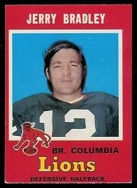 1971 O-Pee-Chee CFL #44 - Jerry Bradley - exmt