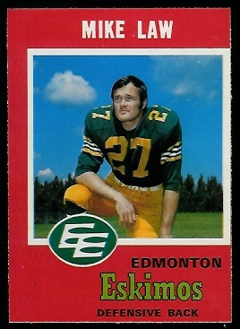 1971 O-Pee-Chee CFL #53 - Mike Law - nm mc