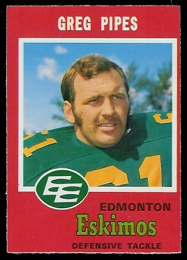 1971 O-Pee-Chee CFL #58 - Greg Pipes - nm oc