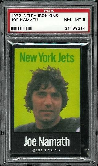 1972 NFLPA Iron Ons #26 - Joe Namath - PSA 8