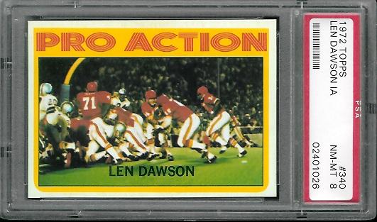 1972 Topps #340 - Len Dawson In Action - PSA 8