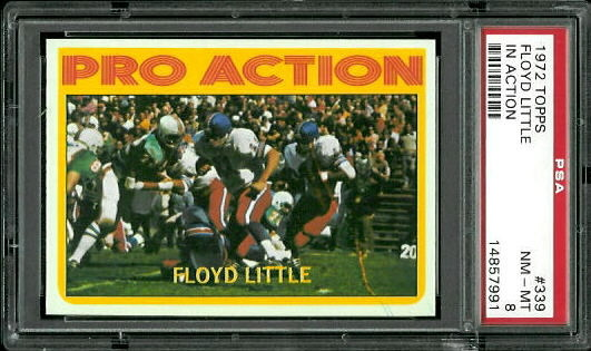 1972 Topps #339 - Floyd Little In Action - PSA 8