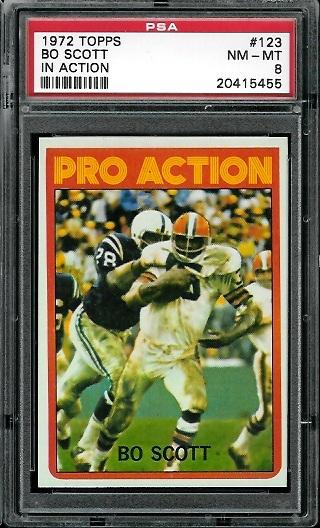 1972 Topps #123 - Bo Scott Pro Action - PSA 8