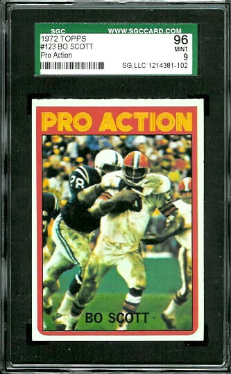 1972 Topps #123 - Bo Scott Pro Action - SGC 96