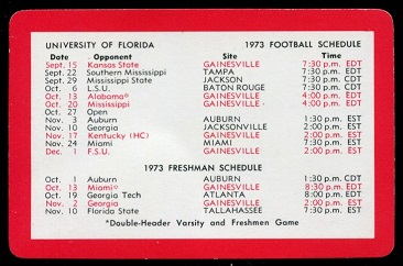 1973 Florida Playing Cards #14B - 1973 Schedule - vg