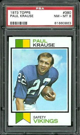 1973 Topps #380 - Paul Krause - PSA 8