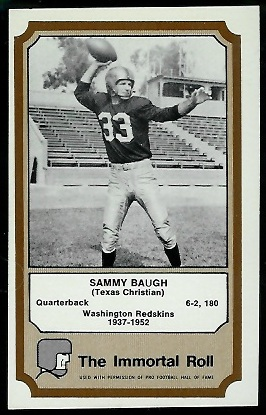 1974 Fleer Immortal Roll #2 - Sammy Baugh - ex