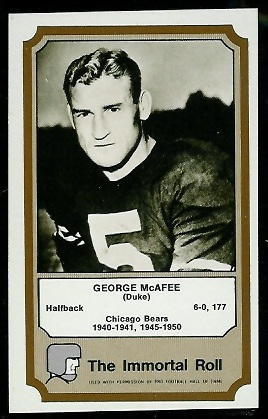 1974 Fleer Immortal Roll #31 - George McAfee - nm