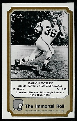1974 Fleer Immortal Roll #34 - Marion Motley - exmt