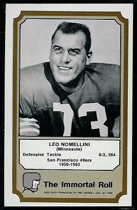 1974 Fleer Immortal Roll #37 - Leo Nomellini - exmt