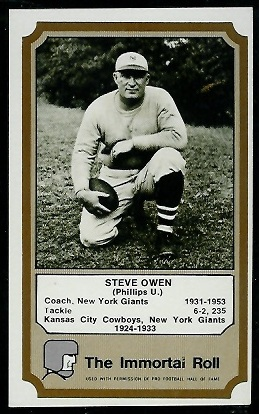 1974 Fleer Immortal Roll #38 - Steve Owen - exmt