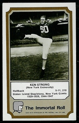 1974 Fleer Immortal Roll #42 - Ken Strong - exmt