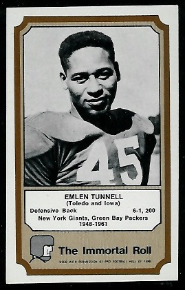 1974 Fleer Immortal Roll #46 - Emlen Tunnell - exmt