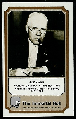 1974 Fleer Immortal Roll #6 - Joe Carr - exmt