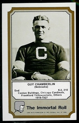 1974 Fleer Immortal Roll #7 - Guy Chamberlin - exmt