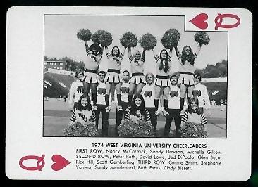 1974 West Virginia Playing Cards #12H - 1974 West Virginia Cheerleaders - nm+