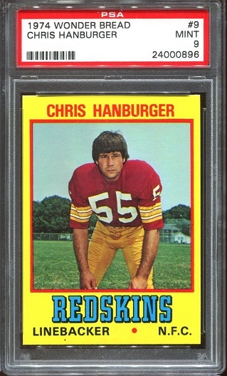 1974 Wonder Bread #9 - Chris Hanburger - PSA 9