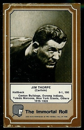 1975 Fleer Immortal Roll #1 - Jim Thorpe - vg-ex