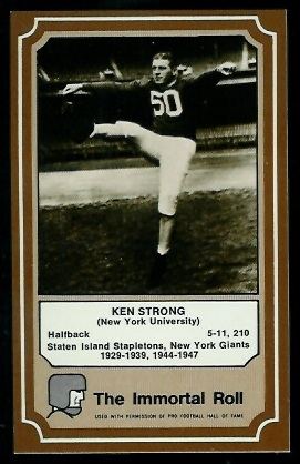 1975 Fleer Immortal Roll #21 - Ken Strong - nm+