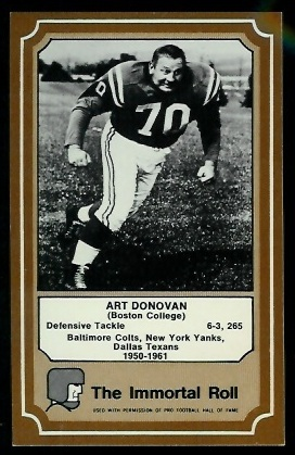 1975 Fleer Immortal Roll #25 - Art Donovan - exmt