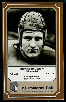 1975 Fleer Immortal Roll #3 - Bronko Nagurski - nm oc