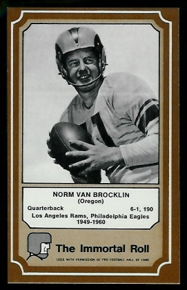 1975 Fleer Immortal Roll #46 - Norm Van Brocklin - nm-mt oc