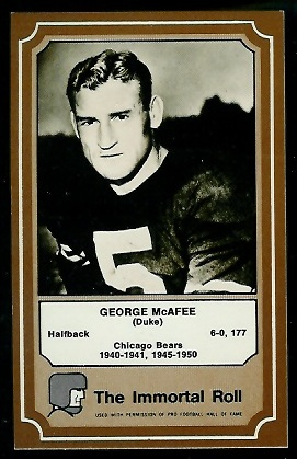 1975 Fleer Immortal Roll #9 - George McAfee - nm+