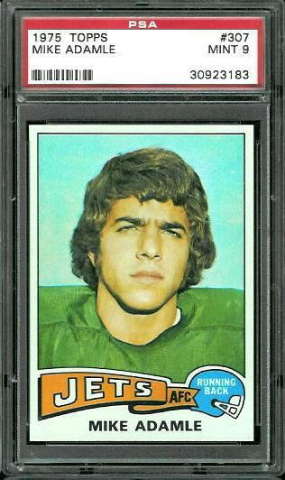 1975 Topps #307 - Mike Adamle - PSA 9